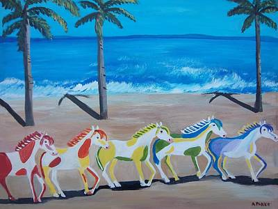Painting -  Colored Art Horses by Aleta Parks