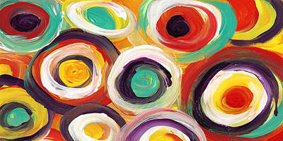 Painting -  Colorful Bold Circles Panoramic 2 by Amy Vangsgard