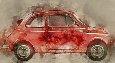 Fiat Car Painting -  Colorful Fiat 500 -  No. 1 - By Diana Van by Diana Van