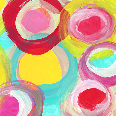 Painting -  Colorful Sun Circles Square 2 by Amy Vangsgard