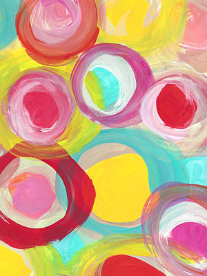 Painting -  Colorful Sun Circles Vertical by Amy Vangsgard