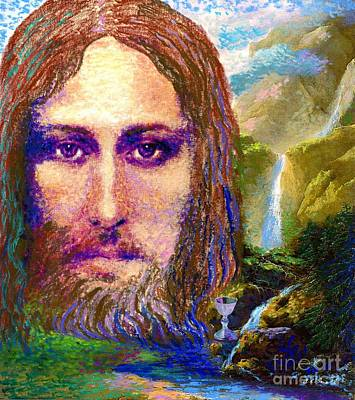 Waterfalls Painting -  Contemporary Jesus Painting, Chalice Of Life by Jane Small