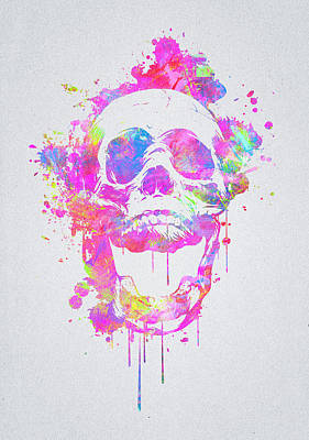 Banksy Digital Art -  Cool And Trendy Pink Watercolor Skull by Philipp Rietz