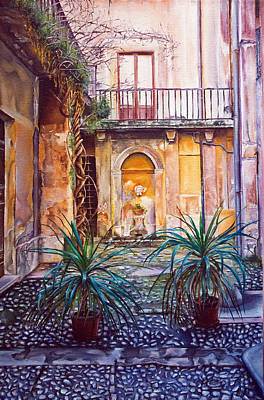 Painting -  Courtyard by Michel Angelo Rossi