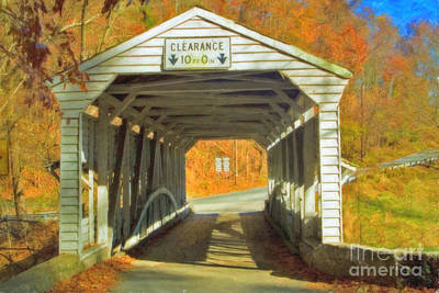 Print featuring the photograph  Covered Bridge Watercolor  by David Zanzinger