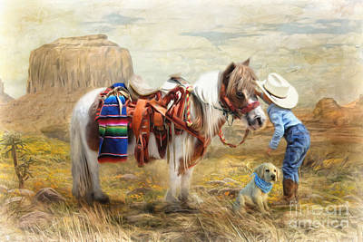 Shetland Ponies Digital Art -  Cowboy Up by Trudi Simmonds