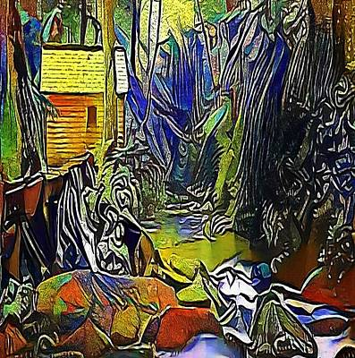 Beautiful Creek Drawing -  Creek In The Woods - My Www Vikinek-art.com by Viktor Lebeda