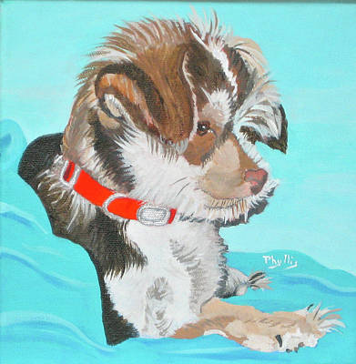 Painting -  Cute Little Puppy by Phyllis Kaltenbach