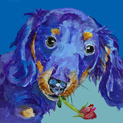 Small Dogs Painting -   Dach by Pat Saunders-White