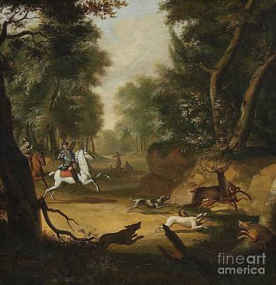 Hunt Painting -  Deer Hunt With Two Huntsmen On Horseback by Celestial Images