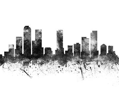 Towns Digital Art -  Denver Colorado Cityscape 02bw by Aged Pixel