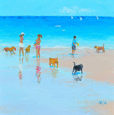 Dog Beach Painting -  Dog Beach Day by Jan Matson