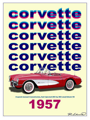 Injections Digital Art -  Double Vision - 1957 Corvette  by Rudy Edwards