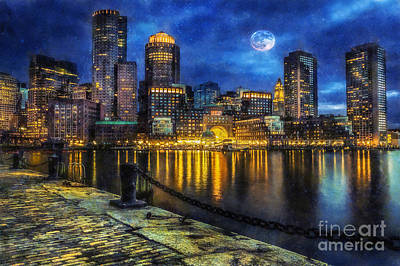 City Scape Digital Art -  Downtown At Night by Ian Mitchell