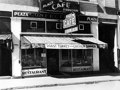 1940s Storefront Photograph -  Downtown Cafe Circa 1940 Black White 1940s by Mark Goebel