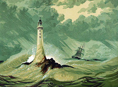 Catch A Wave Painting -  Eddystone Lighthous by English School