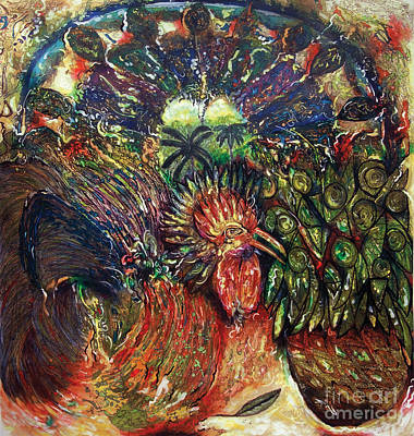 Stained Glass Rooster Painting - El Premiado The Award Winner by Chary Castro-Marin