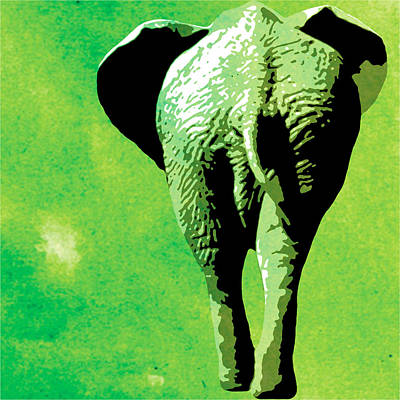 Elephant Animal Decorative Green Wall Poster 3 Art Print by Diana Van