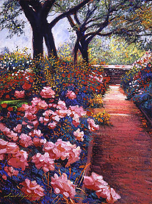 Pathways Painting -  English Tea Roses by David Lloyd Glover