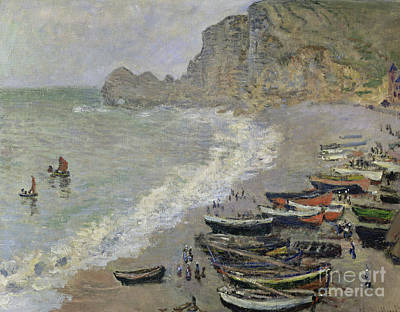 Monet Painting -  Etretat Beach And The Porte D'amont by Celestial Images
