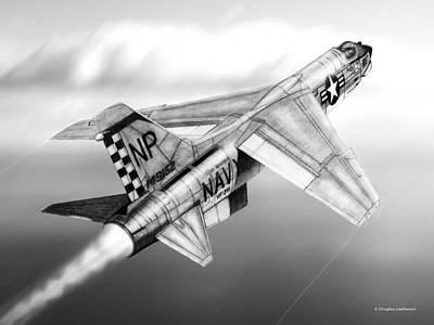 Drawing -  F-8e Crusader Drawing by Douglas Castleman