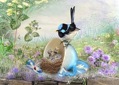Tea Party Digital Art -  Feed Time by Trudi Simmonds
