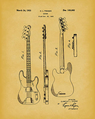 Drawing -  Fender Bass Guitar 1953 Patent Art Light Brown by Prior Art Design