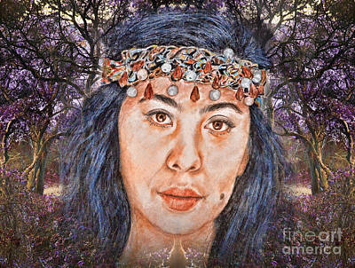 Filipina Beauty, Kaye Anne Toribio.in A Mystical Forest II Art Print by Jim Fitzpatrick