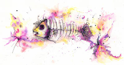 Mixed Media -  Fish Bones by Jacqueline Endlich