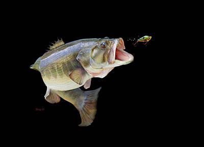 Largemouth Digital Art -  Fishing In A Tournament by Gregory Doroshenko