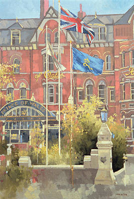Flags Outside The Prince Of Wales Art Print by Peter Miller
