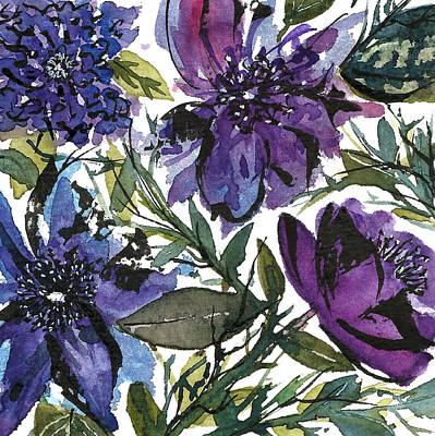 Painting -  Floral Swatch- Purple And Blue by Garima Srivastava