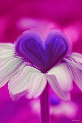Print featuring the photograph  Flower Heart by Linda Sannuti
