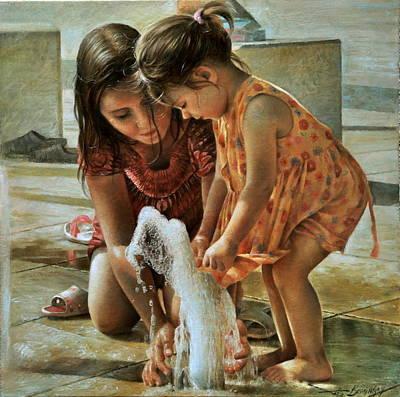 Water Fountain Painting -  Fountain, Balatonfured by Arthur Braginsky