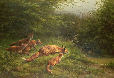 Foxes Waiting For The Prey   Art Print by Carl Friedrich Deiker
