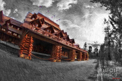 Photograph -  Front Of Old Faithful Inn Yellowstone by Blake Richards