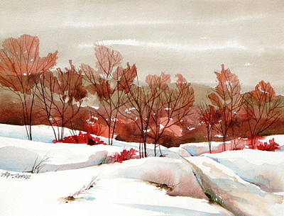 Frosted Red Art Print by Art Scholz