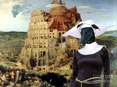 Painting -  Galgo Espanol - Spanish Greyhound Art Canvas Print -the Tower Of Babel  by Sandra Sij