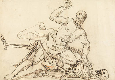 Drawing - George Taylor's Epitaph - George Taylor Breaking The Ribs Of Death  by William Hogarth