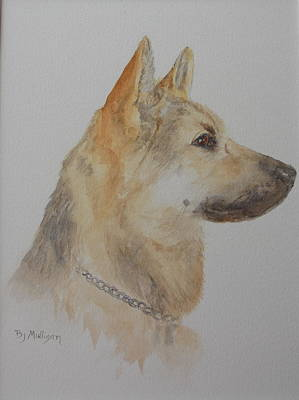Police Dog Painting -  German Shepherd Sam by Betty Mulligan