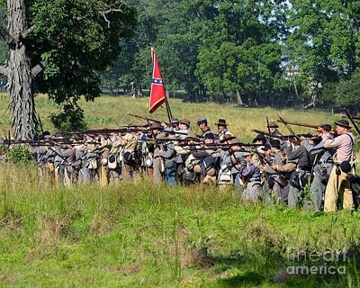 Photograph -  Gettysburg Confederate Infantry 9270c by Cynthia Staley