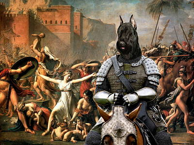 Painting -  Giant Schnauzer Art Canvas Print - Abduction Of Sabine Women by Sandra Sij