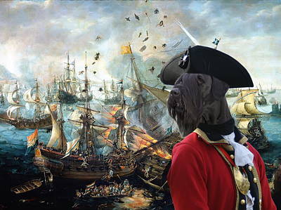 Painting -  Giant Schnauzer Art Canvas Print - Battle Of Gibraltar  by Sandra Sij