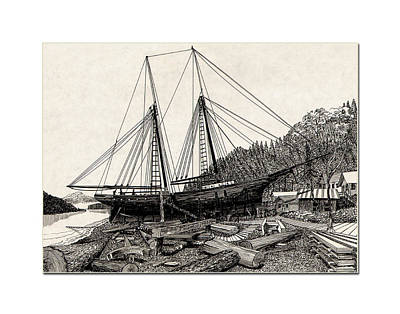 Gig Harbor 1891 Skansi Shipyard In Print by Jack Pumphrey