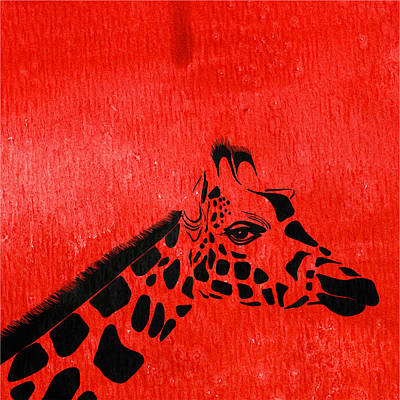 Giraffe Animal Decorative Red Wall Poster  7 - By  Diana Van Art Print