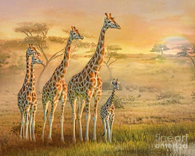 Digital Art -  Giraffe Family by Trudi Simmonds