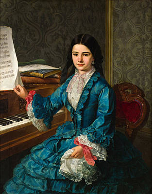 Painting -  Girl At The Piano by Celestial Images