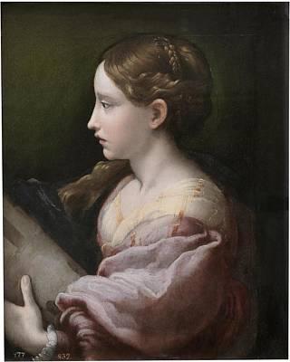 Saint Barbara Wall Art - Painting -  Girolamo Francesco Maria Mazzola by MotionAge Designs