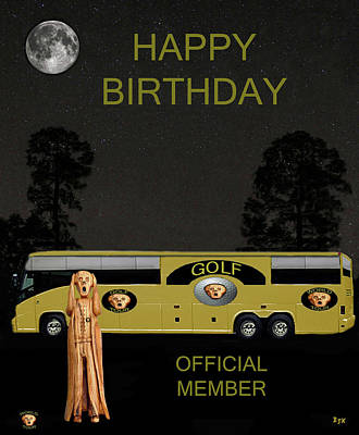 Golf  World Tour Scream Tour Bus Happy Birthday Art Print by Eric Kempson
