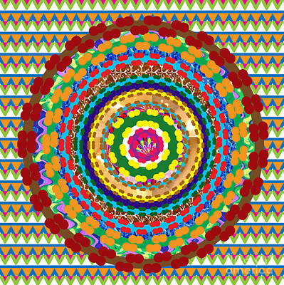 Painting -  Goodluck Charm Chakra Mandala An Intuitive Abstract Art Popular In Hinduism N Buddhism By Navinjosh by Navin Joshi